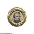 Political:Ferrotypes / Photo Badges (pre-1896), Spectacular Giant 1860 Stephen Douglas Ferrotype Clothing Button...