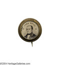 Political:Ferrotypes / Photo Badges (pre-1896), Rare Tiny 1860 Pinback John Bell Ferrotype...