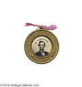Political:Ferrotypes / Photo Badges (pre-1896), Superb, Classic 1864 Lincoln/Johnson Ferrotype...