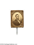 Political:Ferrotypes / Photo Badges (pre-1896), 1864 Lincoln Pinback Badge...