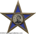 Political:Ferrotypes / Photo Badges (pre-1896), Most Impressive 1864 McClellan Ferrotype In Fancy Star Frame...