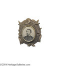 Political:Ferrotypes / Photo Badges (pre-1896), Rare, Fancy 1864 McClellan Campaign Ferrotype...