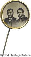 Political:Ferrotypes / Photo Badges (pre-1896), 1868 Grant Jugate...