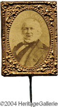 Political:Ferrotypes / Photo Badges (pre-1896), Unusual Greeley Gem-Photo Badge...