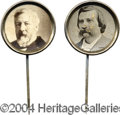 Political:Ferrotypes / Photo Badges (pre-1896), Matched Pair Of 1884 Blaine And Logan Pins...