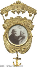 Political:Ferrotypes / Photo Badges (pre-1896), Superb Large 1888 Cleveland And Thurman Ambrotype Badge...