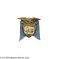 Political:Ferrotypes / Photo Badges (pre-1896), 1888 Cleveland-Thurman Jugate Pin...