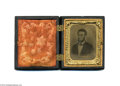 Political:Small Miscellaneous (pre-1896), Very Rare Large c.1862 Lincoln Tintype With Distinctive Pose...