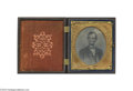 Political:Small Miscellaneous (pre-1896), Rare Large-Size Cased c.1864 Lincoln Tintype...