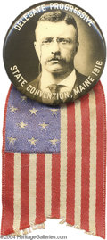 "Political:Pinback Buttons (1896-present), Extremely Rare 1916 Teddy Roosevelt ""Hopeful""..."