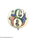 """Political:Pinback Buttons (1896-present), One Of The Great Jugate Designs, A 1 3/4"""" 1908 Taft And ShermanBeauty..."""