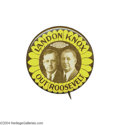 "Political:Pinback Buttons (1896-present), Classic 1936 ""Landon Knox [Sic] Out Roosevelt"" Jugate..."