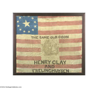 Important 1844 Henry Clay Silk Campaign Flag While several varieties of Clay portrait flags appear on the market from ti...