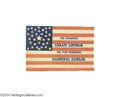 Political:Textile Display (pre-1896), Classic 1860 Lincoln And Hamlin Campaign Flag...