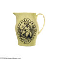 Political:3D & Other Display (pre-1896), Rare Liverpool Creamware Pitcher Showing Washington As President...
