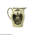 Political:3D & Other Display (pre-1896), Exceptional c.1800 George Washington Memorial Liverpool Creamware Pitcher...
