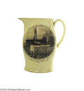 Political:3D & Other Display (pre-1896), Extremely Rare Liverpool Creamware Pitcher Depicting The Guillotining Of France's King Louis XVI...