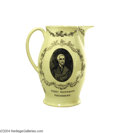 Political:3D & Other Display (pre-1896), Extremely Rare And Important Large Liverpool Creamware Pitcher Of Thomas Jefferson As President...