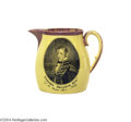 Political:3D & Other Display (pre-1896), Elegant Small War Of 1812 Creamware Pitcher With Stephen Decatur...