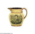 Political:3D & Other Display (pre-1896), Fine War Of 1812 Creamware Creamer, With Portraits Of Decatur And Lawrence, Two Of America's Great Naval Heroes...