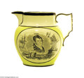 Political:3D & Other Display (pre-1896), Stunning Oliver Hazzard Perry War Of 1812 Pitcher With Vivid Canary Background...