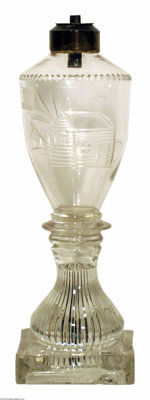Exceedingly Rare And Important Glass Oil Lamp From The 1840 William Henry Harrison Campaign Believed manufactured by Bak...