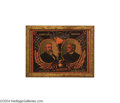 Political:3D & Other Display (pre-1896), Spectacular Reverse-On-Glass 1888 Harrison-Morton Jugate Sign...