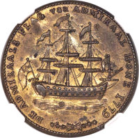 1778-79 MEDAL Rhode Island Ship Medal, Branches Below Ship, Brass -- Cleaned -- NGC Details. Unc. Betts-563, Breen-1141...