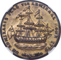 1778-79 MEDAL Rhode Island Ship Medal, Branches Below Ship, Brass, MS62 NGC. Betts-563, Breen-1141, Whitman-1740, R.4...