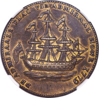 1778-79 MEDAL Rhode Island Ship Medal, VLUGTENDE Removed, Brass, AU55 NGC. Betts-562, Breen-1139, Whitman-1730, R.3