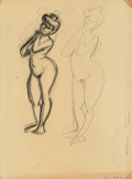 Paintings, Henri Matisse (French, 1869-1954). Two sketches of a woman, c. 1906. Crayon on paper laid down on card. 12-7/8 x 9-3/4 i...