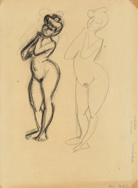 Henri Matisse (French, 1869-1954) Two sketches of a woman, c. 1906 Crayon on paper laid down on card