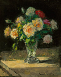 Edouard-Léon Cortès (French, 1882-1969) Bouquet de roses dans un vase Oil on panel 18 x 14-3/4 inches (45...