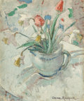 Paintings, Anne Redpath (British, 1895-1965). Still life with daffodils and tulips. Oil on panel. 24 x 19-3/4 inches (61.0 x 50.2 c...