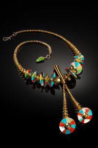 A Hopi Gold and Stone Necklace