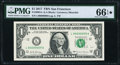 Radar-Repeater-(Flipper) Serial 90099009 Fr. 3004-L $1 2017 Federal Reserve Note. PMG Gem Uncirculated 66 EPQ★