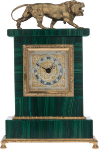 A Malachite and Gilt Metal Mantel Clock with Swiss Movement, late 20th century Marks: SWISS MADE 6-