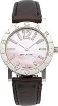 Estate Jewelry:Watches, Bvlgari Lady's Diamond, Mother-of-Pearl, Stainless Steel Watch . ...