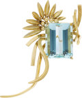 Estate Jewelry:Brooches - Pins, Aquamarine, Gold Brooch. ...