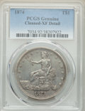 Trade Dollars, 1874 T$1 -- Cleaned -- PCGS Genuine. XF Details. NGC Census: (2/135). PCGS Population: (11/185). XF40. Mintage 987,100....