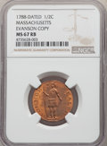 (circa 1940s) 1/2 C Massachusetts Half Cent, Evans Copper Restrike, MS67 Red and Brown NGC. NGC Census: (0/0). PCGS Popu...
