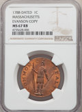 (circa 1940s) 1C Massachusetts Cent, Evans Copper Restrike, MS67 Red and Brown NGC. NGC Census: (11/0). PCGS Population:...
