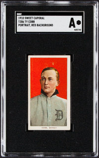 1909-11 T206 Sweet Caporal Ty Cobb (Portrait, Red Background) SGC Authentic