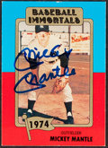 Autographs:Sports Cards, Signed 1980 Baseball Immortals Mickey Mantle #145....