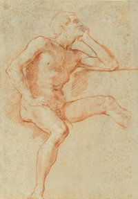 Baldassarre Franceschini (Italian, 1611-1690) Study of a male nude, seated, resting his chin on his left hand;