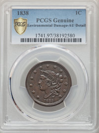 1838 1C -- Environmental Damage -- PCGS Genuine. AU Details. NGC Census: (27/498 and 0/2+). PCGS Population: (71/628 and...