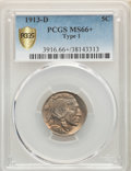 Buffalo Nickels, 1913-D 5C Type One MS66+ PCGS. PCGS Population: (483/84 and 38/13+). NGC Census: (182/25 and 1/4+). CDN: $450 Whsle. Bid fo...