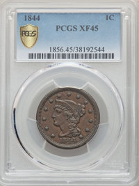1844 1C XF45 PCGS. PCGS Population: (32/128 and 0/1+). NGC Census: (6/94 and 0/0+). CDN: $110 Whsle. Bid for NGC/PCGS XF...