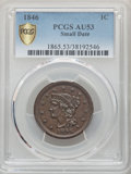1846 1C Small Date AU53 PCGS. PCGS Population: (30/189 and 0/1+). NGC Census: (5/123 and 0/0+). CDN: $115 Whsle. Bid for...