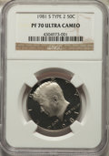 Proof Kennedy Half Dollars, 1981-S 50C Type Two PR70 Ultra Cameo NGC. NGC Census: (137). PCGS Population: (175). ...